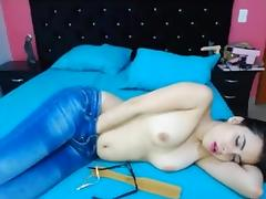 Colombian is topless in blue jeans for a whole hour! tube porn video