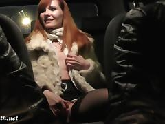 Jeny Smith is being caught naked on back seat of taxi tube porn video