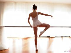 petite ballerina gives a blowjob on the barre tube porn video