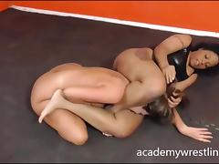 Black beauty fuck and facesit in Academy Wrestling tube porn video