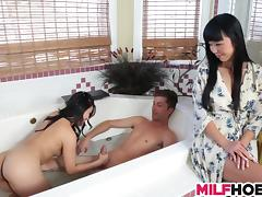 Asian Mom Teachs Her Stepdaughter and BF tube porn video