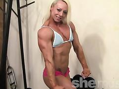 Female bodybuilder shows off her mature fbb muscles tube porn video