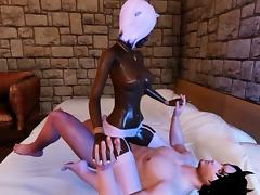 Beautiful Black Scene Girl Rides A Big White Cock! tube porn video