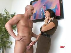 Busty woman really looks awesome in every fucking jerks tube porn video