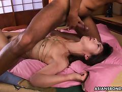 Roped Asian gags on a hairy boner after being fingered tube porn video