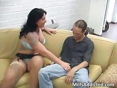 Tattooed brunette MILF gets her wet tube porn video