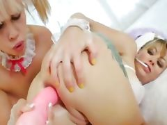 two sexy girlsongirls with pink dildo tube porn video