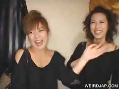 Asian sweeties talked into sex tube porn video
