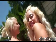 Two horny blonde hotties poolside fun with two hard shafts tube porn video