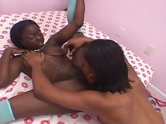Ebony amateurs turn lesbain and fuck with strapon tube porn video