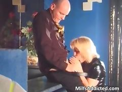 Nice blonde chick sucks dick and rides tube porn video