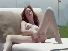 Beautiful redhead opening pussy outside tube porn video