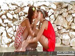 Teen lesbian duo shares a double dildo tube porn video