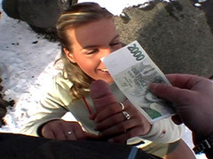 Tight chick takes her cash then fucks with stranger in a snowy public place tube porn video