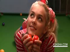 Beautiful teen teasing hot twat on poll table tube porn video