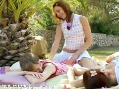 Incredible lesbian threesome from europe tube porn video