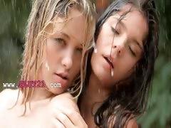 Beautiful schoolmates in the rain tube porn video