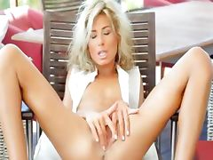 Incredible WOW blonde opening her cunt tube porn video