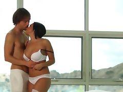 brunette copulate in the bedroom tube porn video