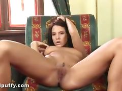 Sexy brunette teases her arousing tits tube porn video