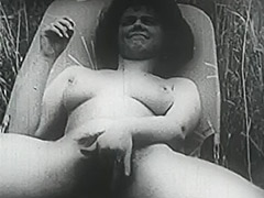 Girl with Big Boobs and Hairy Cunt Fucked in Field 1950 tube porn video