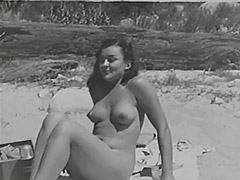 Blonde Sunbathing Hairy Naturist Girl 1950 tube porn video