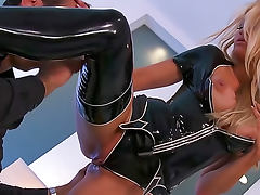 Black latex on pornstar Jessica Drake tube porn video