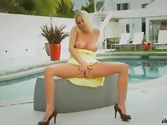 Sexy Riley Evans getting fucked cowgirl style by the pool tube porn video
