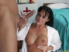 Deep Throated Brunette Doctor Savannah Stern Gets a Facial In Stockings tube porn video