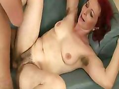 Seductive Redhead Granny Gets Her Hairy Pussy Banged The Hardcore tube porn video