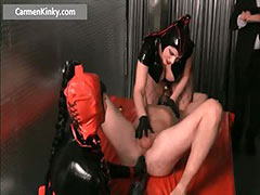 Dirty Carmen in horny latex stuffing guy tube porn video