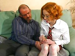 Young French redhead learns how to fuck tube porn video