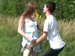 Busty pale teenager fucked outdoors tube porn video