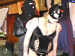 Babe in latex being spanked with force tube porn video