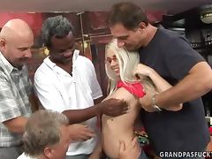 Juicy blond babe Nesty is getting gangbanged by old farts tube porn video