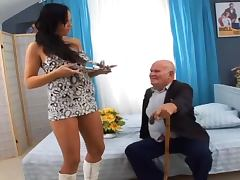 Nasty girl fucks a grandfather after sucking his dick so many times tube porn video