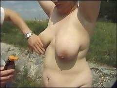 Redhead BBW Slut anal in Outdoors Threesome tube porn video