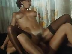 Rocco Siffredi Fucks Hairy Pussy and Ass of Hot Babe in Lingerie in Retro Porn tube porn video