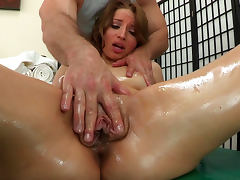 Oiled Alyssa Branch is sucking dick of John Strong tube porn video