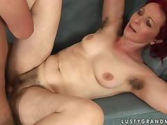 Debra gets her hairy pussy licked and fucked in missionary position tube porn video