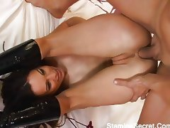 Horny Amber takes on four cocks tube porn video