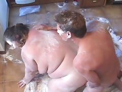 Fatty fucked while covered in flour tube porn video