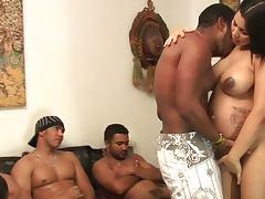 Big black cocks screwing holes of pregnant slut tube porn video