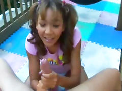 Pigtailed angel makes a sloppy deepthroat tube porn video