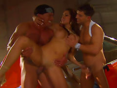 Sweet babe Daisy Marie is getting fucked by two dicks tube porn video