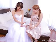 Sexy Japanese Bride Gets Her Pussy Licked by Her Maid of Honor tube porn video