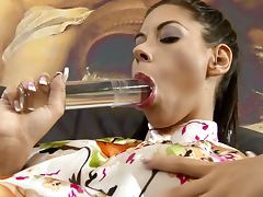 Muriel shows off her snatch and pounds it hard with a dildo tube porn video