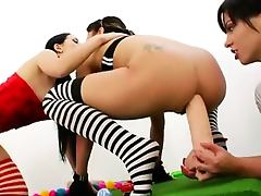 Lesbian Toys videos. Lesbian toys and strap on action with hot teenagers