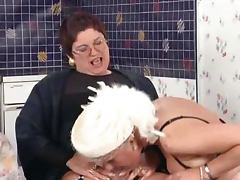 German grannies engage into lesbian sex at kitcheb tube porn video