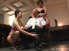Satsuki Kirioka and Sorami Haga are pleasing their boss tube porn video